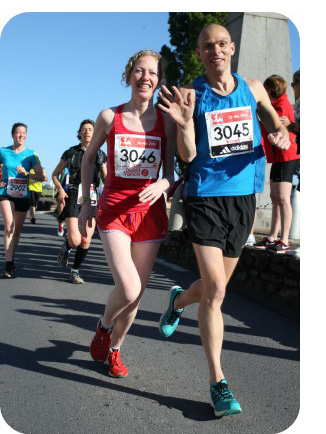 Jayne running the 2014 Mont Saint Michel Marathon
